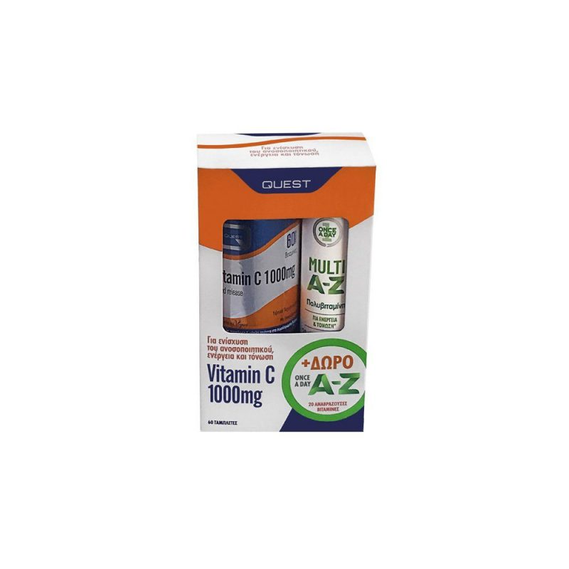 Quest Promo Vitamin C 1000mg Timed Release Βιταμίνης C Βραδείας Αποδέσμευσης 60 ταμπλέτες + Multi A-